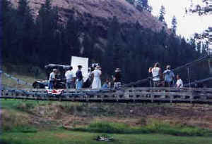 Feature film crew set up during filming of Where Rivers Meet
