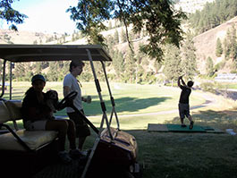 Try your hand at golf on our private driving range.